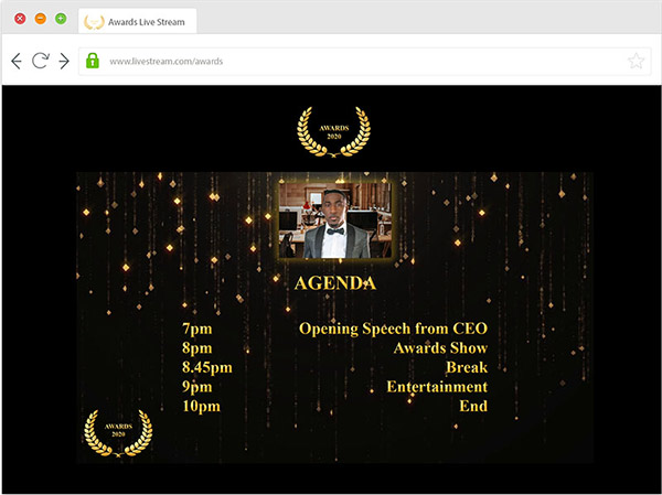 awards dinner and gala dinner broadcast to external guests via webcast or video conference